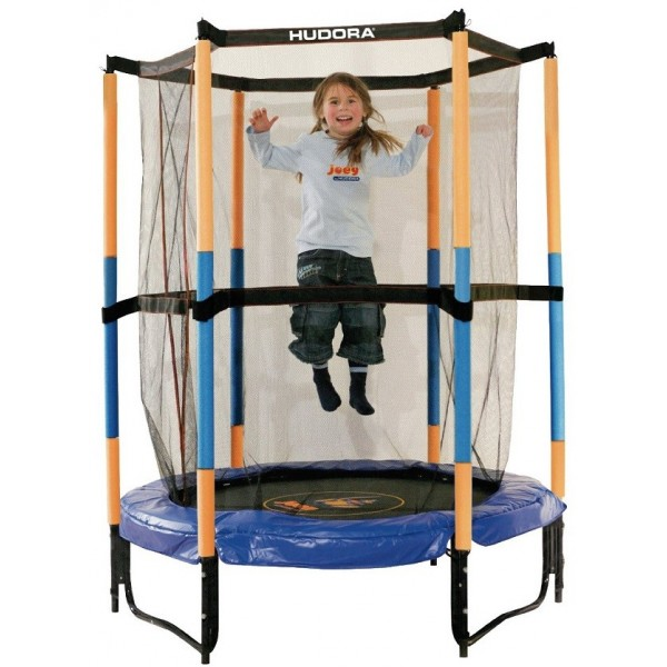 blauwe hudora safty trampoline 140 cm met veiligheidsnet. Black Bedroom Furniture Sets. Home Design Ideas